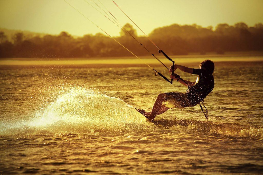 Kite Surfer at sunset