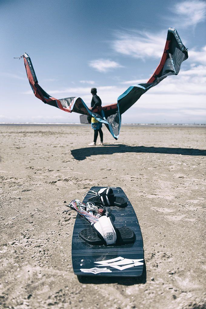 Kite surfer with kite and board