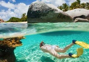 Snorkelling in clear water